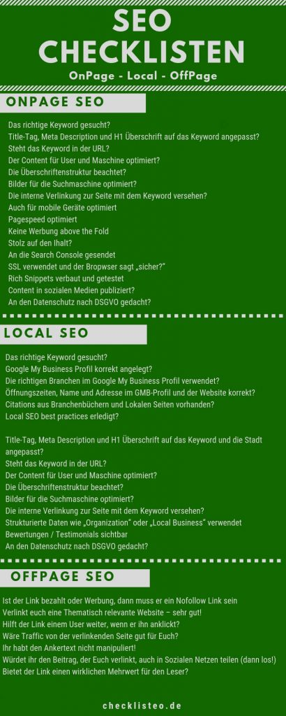OffPage- Local und OnPage SEO Checklisten